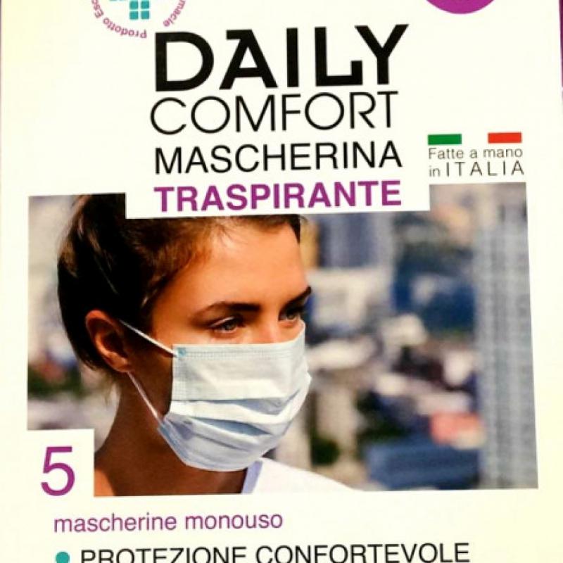 DAILY COMFORT MASCHERINA TRASPIRANTE ITALIANA 5 PEZZI
