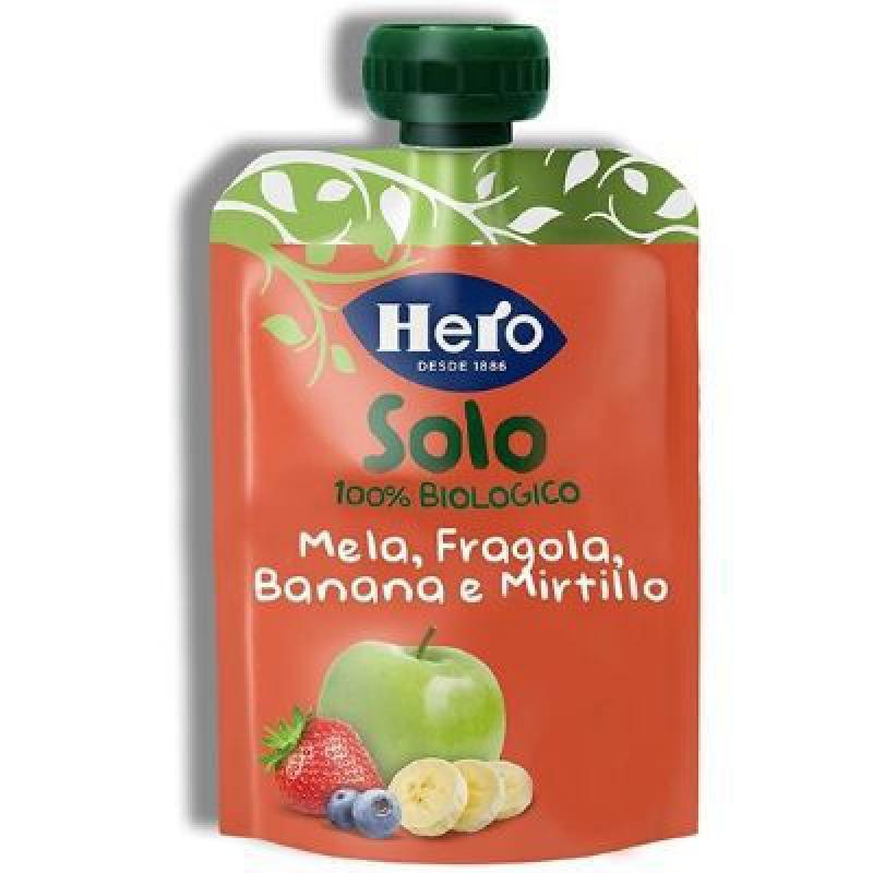 HERO SOLO FRUTTA FRULLATA 100% BIO MELA BANANA FRAGOLA 100 G